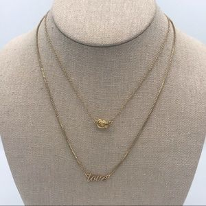 Kate Spade Love Knot Layered Combo Gold Necklace